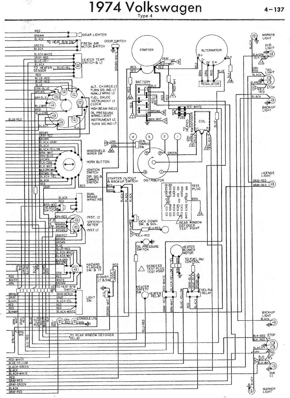 Wiring Diagrams Volkswagen Up Diagram Us Model 412 Year 1974 Part 2
